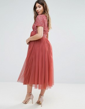 photo Sequin Embellishment Midi Dress with Tulle Skirt by Maya Maternity, color Pink - Image 2