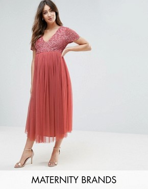 photo Sequin Embellishment Midi Dress with Tulle Skirt by Maya Maternity, color Pink - Image 1