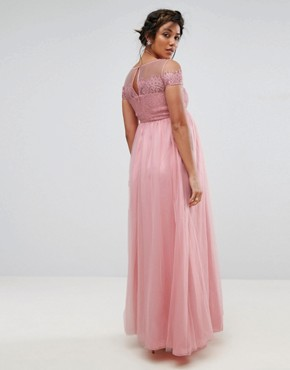 photo Cold Shoulder Lace Maxi Dress by Chi Chi London Maternity, color Pink - Image 2