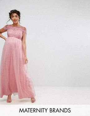 photo Cold Shoulder Lace Maxi Dress by Chi Chi London Maternity, color Pink - Image 1