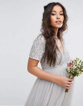photo Cap Sleeve V-Neck Midi Dress with Tonal Delicate Sequins by Maya Maternity, color Grey - Image 2