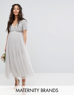 photo Cap Sleeve V-Neck Midi Dress with Tonal Delicate Sequins by Maya Maternity, color Grey - Image 1