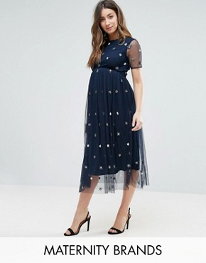 photo Midi Dress with 3D Embellishment by Maya Maternity, color Navy - Image 1