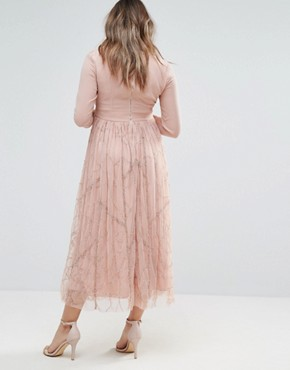 photo Embellished Skirt Midi Dress by Maya Maternity, color Pink - Image 2
