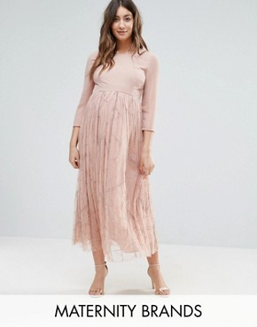 photo Embellished Skirt Midi Dress by Maya Maternity, color Pink - Image 1