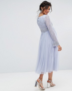 photo Long Sleeve Midi Dress with Embellished Sleeves and Tule Skirt by Maya Maternity, color Blue - Image 2