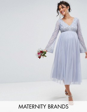 photo Long Sleeve Midi Dress with Embellished Sleeves and Tule Skirt by Maya Maternity, color Blue - Image 1