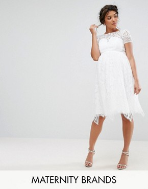 photo All Over Lace Midi Dress by Chi Chi London Maternity, color White - Image 1