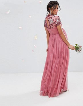 photo Embellished Yoke Maxi Dress with Cap Sleeve by Maya Maternity, color Purple - Image 2