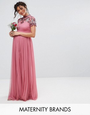 photo Embellished Yoke Maxi Dress with Cap Sleeve by Maya Maternity, color Purple - Image 1