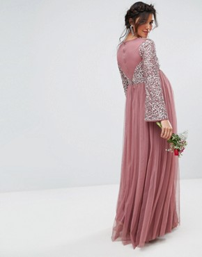 photo Long Sleeve V-Neck Maxi Dress with Tonal Delicate Sequins by Maya Maternity, color Purple - Image 2