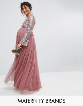 photo Long Sleeve V-Neck Maxi Dress with Tonal Delicate Sequins by Maya Maternity, color Purple - Image 1
