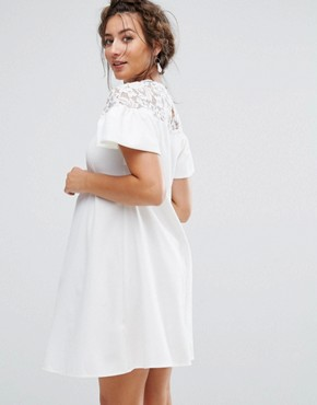 photo Lace Ruffle Sleeve Smock Dress by Queen Bee Maternity, color White - Image 2