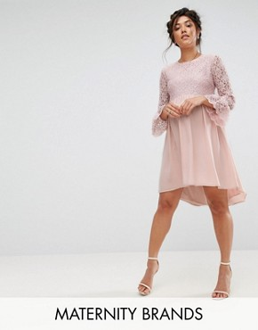 photo Lace Hi Lo Smock Dress with Ruffle Sleeve by Queen Bee, color Pink - Image 1