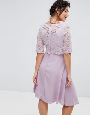 photo Lace Overlay Midi Swing Dress by Queen Bee, color Purple - Image 2