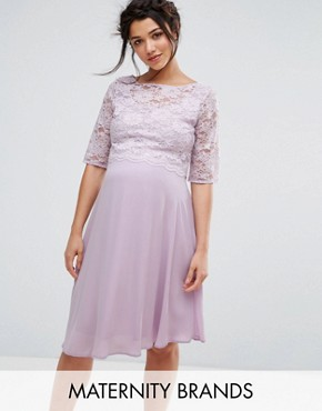 photo Lace Overlay Midi Swing Dress by Queen Bee, color Purple - Image 1