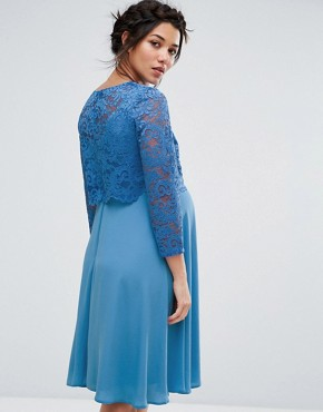 photo Lace Overlay Midi Swing Dress with 3/4 Sleeve by Queen Bee, color Blue - Image 2