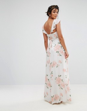 photo Ruffle Shoulder Floral Maxi Dress by Queen Bee, color Multi - Image 2