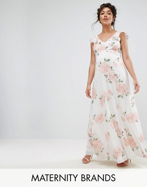 photo Ruffle Shoulder Floral Maxi Dress by Queen Bee, color Multi - Image 1