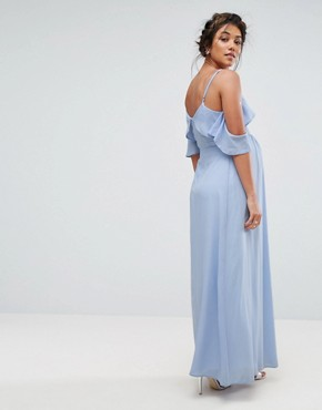 photo Midi Tea Dress with Cold Shoulder by Queen Bee, color Blue - Image 2