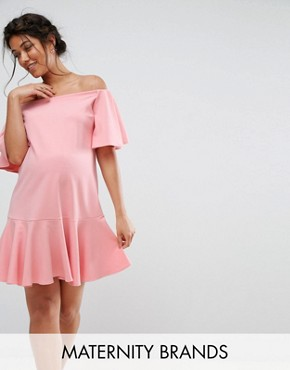 photo Bardot Ruffle Dress by Queen Bee, color Pink - Image 1