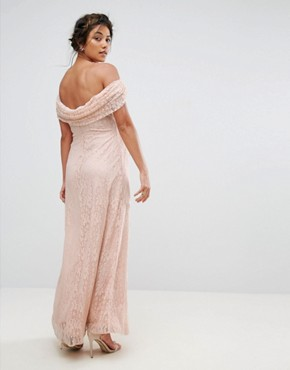 photo Lace Maxi Dress with Cowl Front and Back by Queen Bee, color Pink - Image 2