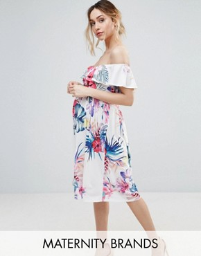 photo Tropical Printed Bardot Dress by Bluebelle Maternity, color Multi - Image 1