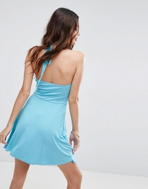photo Mini Swing Halter Neck Sundress with Cut Out by ASOS, color Pale Blue - Image 2