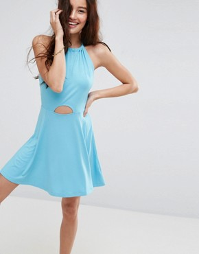 photo Mini Swing Halter Neck Sundress with Cut Out by ASOS, color Pale Blue - Image 1