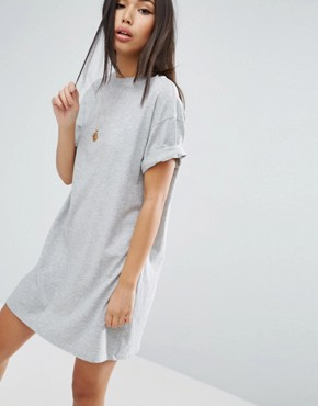 photo T-Shirt Dress with Rolled Sleeves by ASOS ULTIMATE, color Grey Marl - Image 1