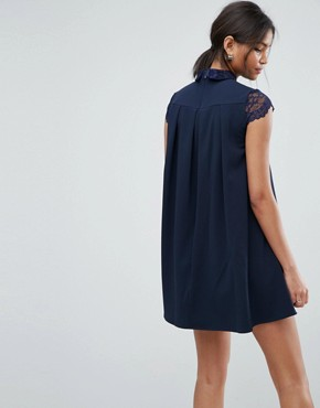 photo Smock Dress with Pleats and Lace Details by ASOS, color Navy - Image 2