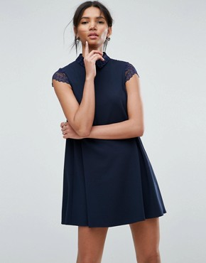 photo Smock Dress with Pleats and Lace Details by ASOS, color Navy - Image 1