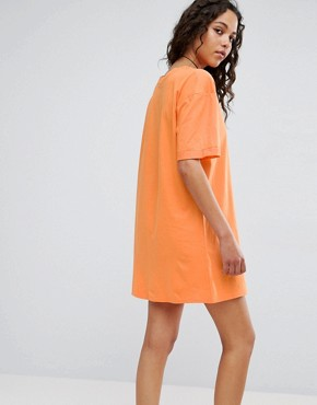 photo T-Shirt Dress with Rolled Sleeves by ASOS ULTIMATE, color Orange - Image 2