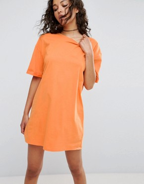 photo T-Shirt Dress with Rolled Sleeves by ASOS ULTIMATE, color Orange - Image 1