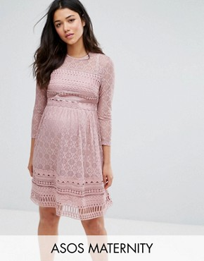photo Lace Skater Dress by ASOS Maternity PREMIUM, color Lilac - Image 1