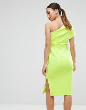 photo One Shoulder Scuba Deep Fold Midi Dress with Exposed Zip by ASOS Maternity, color Chartreuse - Image 2