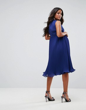 photo Sleeveless Lace Insert Dress by ASOS Maternity, color Navy - Image 2