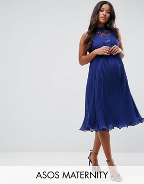 photo Sleeveless Lace Insert Dress by ASOS Maternity, color Navy - Image 1