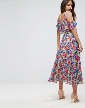 photo Cami Cold Shoulder Flutter Sleeve Midi Dress in Floral Print by ASOS TALL, color Floral - Image 2