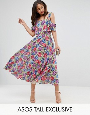 photo Cami Cold Shoulder Flutter Sleeve Midi Dress in Floral Print by ASOS TALL, color Floral - Image 1