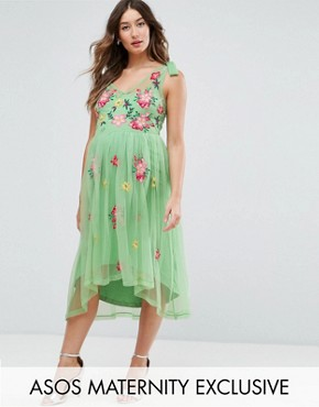 photo Embroidered Mesh Dress by ASOS Maternity, color Multi - Image 1