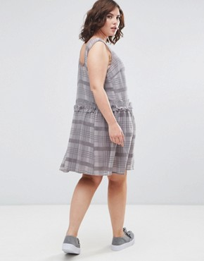 photo Drop Hem Dress in Check Print by ASOS CURVE, color Light Grey - Image 2
