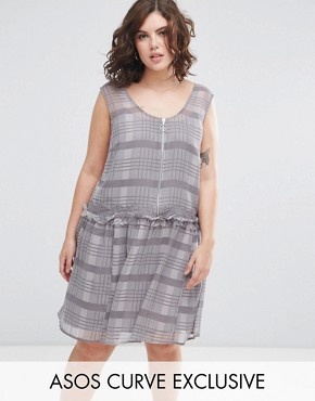 photo Drop Hem Dress in Check Print by ASOS CURVE, color Light Grey - Image 1