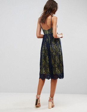 photo Contrast Lace Cami Midi Prom Dress by ASOS, color Navy - Image 2