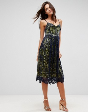 photo Contrast Lace Cami Midi Prom Dress by ASOS, color Navy - Image 1