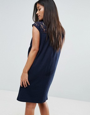 photo Lace Insert Dress by Mamalicious, color Navy - Image 2