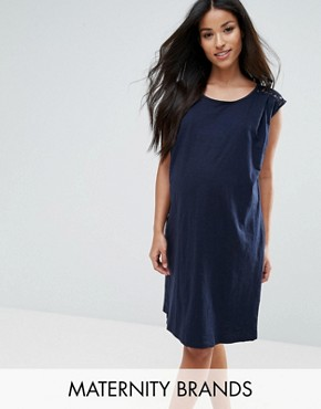 photo Lace Insert Dress by Mamalicious, color Navy - Image 1