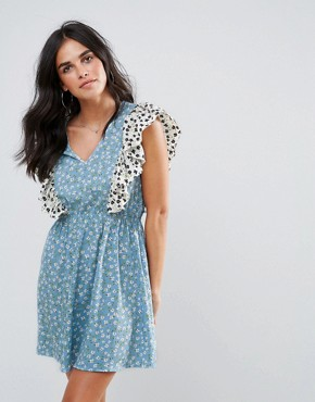 photo Ruffle Mix and Match Print Dress by Influence, color Multi - Image 1