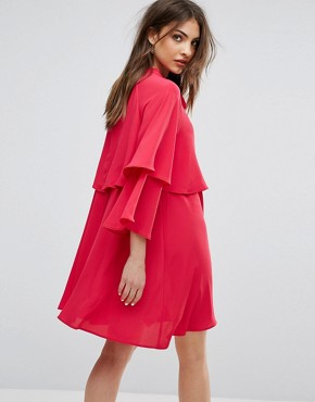 photo Flute Sleeve Tie Front Smock Dress by Mango, color Pink - Image 2