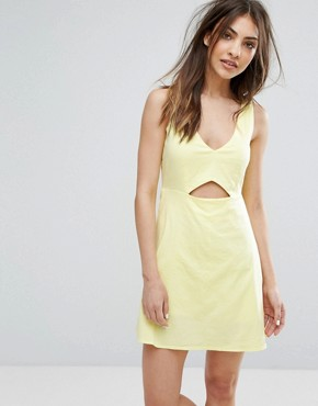 photo Cut Out Detail Dress by Mango, color Yellow - Image 1